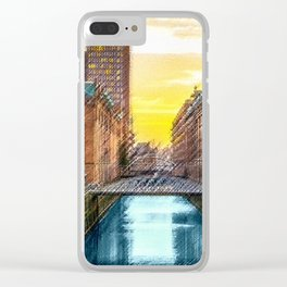 Brick Industrial Homes on the Canal, Hamburg Germany Landscape Painting by Jeanpaul Ferro Clear iPhone Case