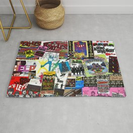 British Rock and Roll Invasion Fab Four Vintage Concert Rock and Roll Painting Collage portrait Rug