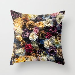 Flower Wall // Full Color Floral Accent Background Jaw Dropping Decoration Throw Pillow