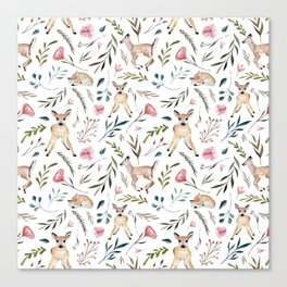 Deer and Leaves Pattern Canvas Print