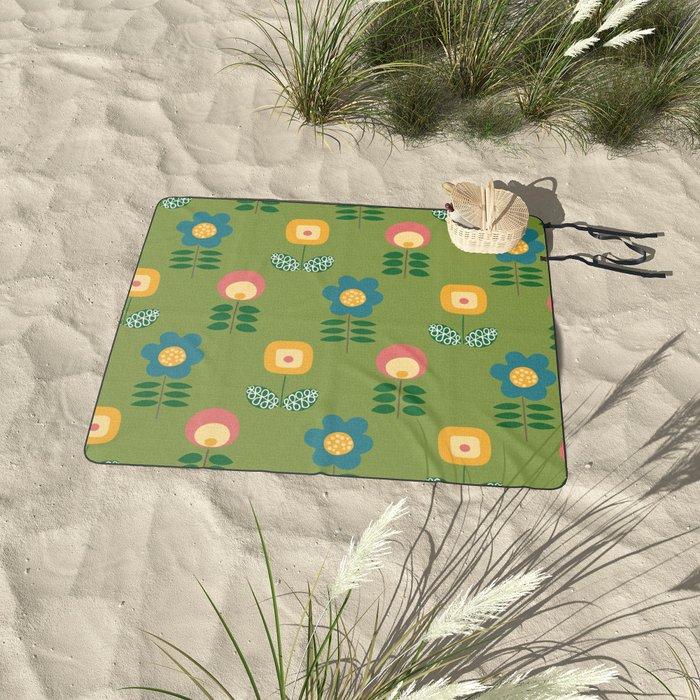 Mid Century Flowers (green) Picnic Blanket