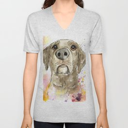 Berry Chocolate Labrador Unisex V-Neck
