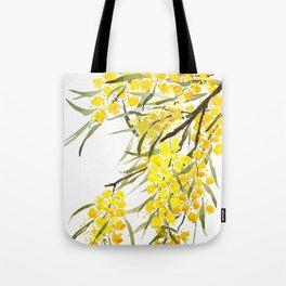 Godlen wattle flower watercolor Tote Bag