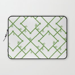 Bamboo Chinoiserie Lattice in White + Green Laptop Sleeve