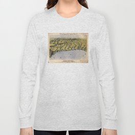 Vintage Pictorial Map of The Texas Coast (1861) Long Sleeve T-shirt