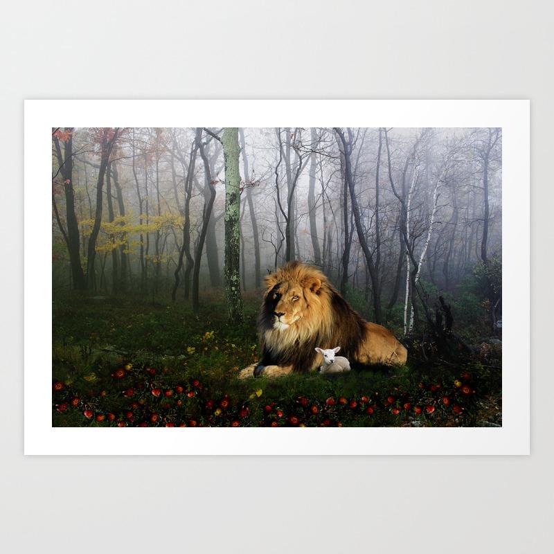Lion And Lamb Poster by Juliehoddinott PRN509905