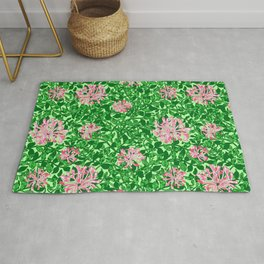 William Morris Honeysuckle, Pink and Emerald Green Rug