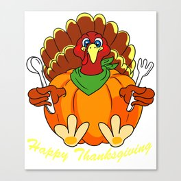 Happy Thanksgiving Hungry Turkey Holding Silverware product Canvas Print