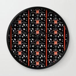 Pinstripe Skull Pattern Design Illustration Wall Clock