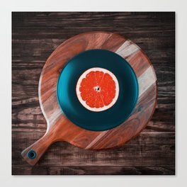 Music and Food - vinyl record concept Canvas Print