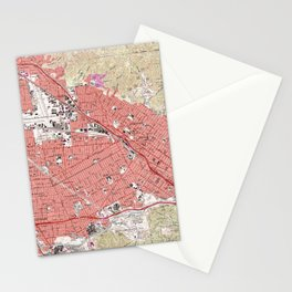 Vintage Map of Burbank California (1966) Stationery Cards