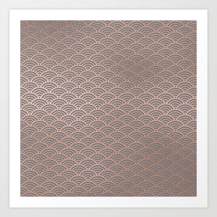 Rose gold mermaid pattern-on gray background Art Print
