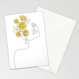Mustard Bloom Girl Stationery Cards