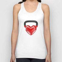 Kettlebell heart vinyl / 3D render of heavy heart shaped kettlebell Unisex Tank Top