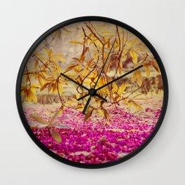 autumn pink Wall Clock