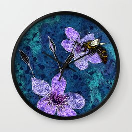 Bee on Linseed Flowers Wall Clock