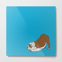 Bulldog on Blue Metal Print