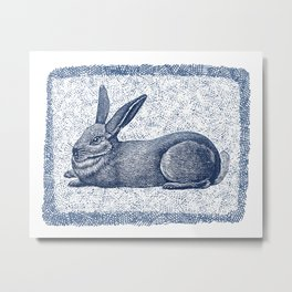 Rabbit print, Vintage Rabbit, Animal Wall Art Metal Print