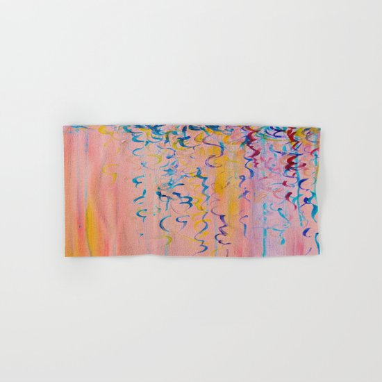 COTTON CANDY WHISPERS - Lovely Pretty in Pink Colorful Rainbow Ribbons Abstract Fine Art Painting Hand & Bath Towel