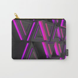 Pattern of grey triangle prisms with purple glowing lines Carry-All Pouch