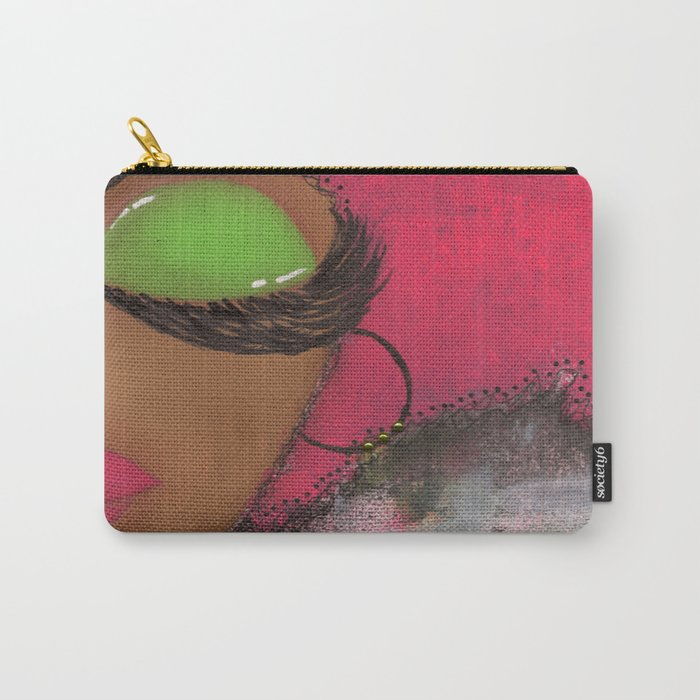 Pink and Green Sassy Girl Carry-All Pouch