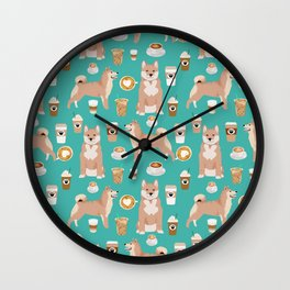 Shiba Inu dog breed coffee pupuccino pure breed doggo gifts Wall Clock