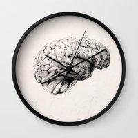 brain Wall Clocks featuring Brain by Andreas Derebucha