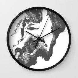 Somi - spilled ink black and white marble patterned painting watercolor abstract art Wall Clock