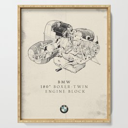 Boxer-twin engine, technical drawing, motorcycle print, vintage garage poster, man cave wall art Serving Tray