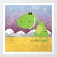 dinosaur Art Prints featuring dinosaur by Daniel Castrogiovanni