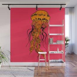 Cool Jellyfish Sea Life Art In Pink And Orange Wall Mural