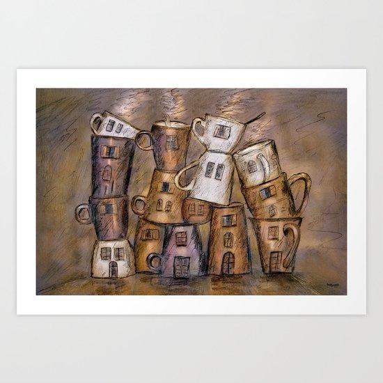 Coffeehouse - draw Art Print