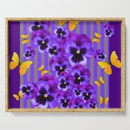 DECORATIVE GOLDEN YELLOW BUTTERFLIES PURPLE PANSY PILLOW ART Serving Tray