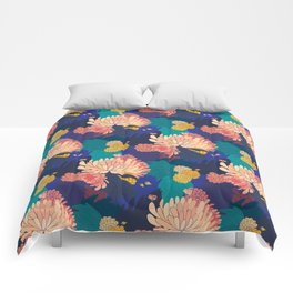Chrysanthemums and Marigolds Comforters