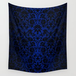 Beautiful Blue and Black Floral Damask Pattern Wall Tapestry