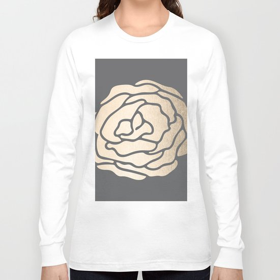 Rose in White Gold Sands on Storm Gray Long Sleeve T-shirt