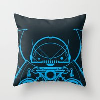 robot Throw Pillows featuring Robot by Martin Laksman
