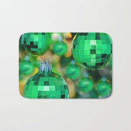 Green Christmas decoration balls Bath Mat