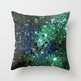 Green Eagle Nebula / Pillars of Creation Throw Pillow