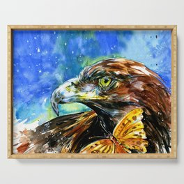 Golden Eagle And Butterfly by Kathy Morton Stanion Serving Tray