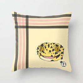 Leopard Gecko Plaid Throw Pillow