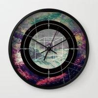 compass Wall Clocks featuring Compass by Luisa Burgoyne