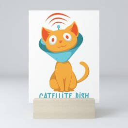 Satellite Cat Catellite TV Calibration Satellite Dish Gift design Mini Art Print