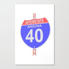 Interstate highway 40 road sign in Arizona Canvas Print