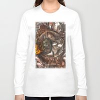 darwin Long Sleeve T-shirts featuring Darwin Meets Orwell by John Hansen