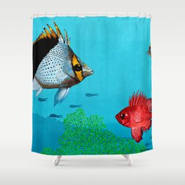 Butterfly & Bigeye fishes Shower Curtain