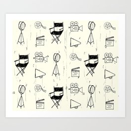 Filmmaking Pattern // Ink Drawing Art Print