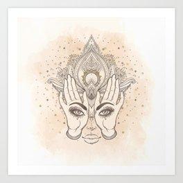 Peach & Gold Boho Lotus Art Print