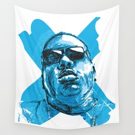 Digital Drawing 33 - Notorious B.I.G. in Blue Wall Tapestry