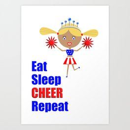 Cheerleader and Pom Poms with Text Eat Sleep Cheer Text Art Print